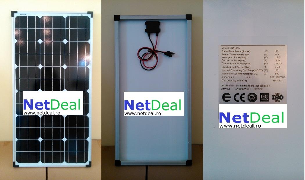 panou solar 80w fotvoltaic monocristalin